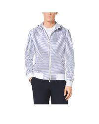 Michael Kors | Blue Striped Hooded Jacket for Men | Lyst