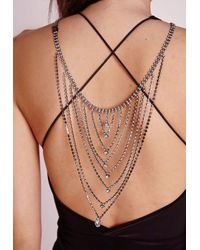 Missguided | Metallic Diamante Backchain Silver | Lyst