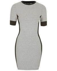 TOPSHOP - Gray Geometric Panel Bodycon Dress - Lyst