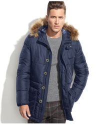 Tommy Hilfiger - Blue Hooded Faux-Fur-Trim Performance Parka for Men - Lyst