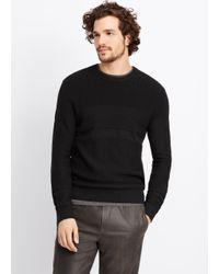 Vince | Black Multi Stitch Crew Neck Sweater for Men | Lyst