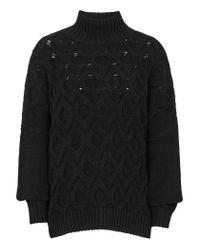 Reiss | Black Beatrix Cable-stitch Jumper | Lyst