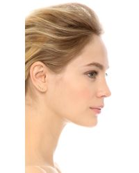 Jacquie Aiche | Metallic Descending Right Ear Crawler - Clear/gold | Lyst
