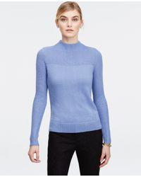 Ann Taylor - Blue Mock Neck Sweater - Lyst