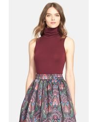 Alice + Olivia | Red 'Farley' Sleeveless Turtleneck Sweater | Lyst
