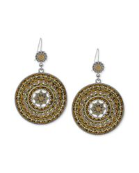 Jessica Simpson | Metallic Silvertone Multicolor Crystal Woven Drop Earrings | Lyst