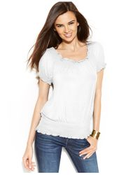 INC International Concepts - White Shortsleeve Smocked Peasant Top - Lyst