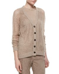 Brunello Cucinelli - Brown Luxury Knit Cashmere Sequin Cardigan - Lyst
