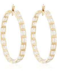 Nak Armstrong | Metallic Gold Rainbow Moonstone Hoop Earrings | Lyst