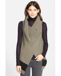 Joie - Green 'Ligiere' Sleeveless Boiled Wool Sweater - Lyst