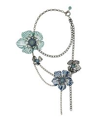 Lanvin - Blue Multistrand Flower Necklace - Lyst