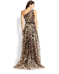 Badgley Mischka - Multicolor One-Shoulder Printed Silk Gown - Lyst