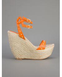 Alexander McQueen Orange Wedge Sandal