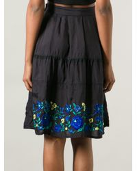 Zucca - Blue Embroidered Floral Skirt - Lyst