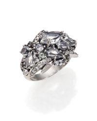 Alexis Bittar Fine - Metallic Silver Ice Marquis Clear Quartz, Diamond, Green Sapphire & Sterling Silver Cluster Ring - Lyst