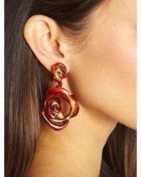Oscar de la Renta - Pink Hand-painted Rose Earrings - Lyst