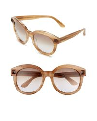 Valentino | Brown 'rockstud' 54mm Semi Oval Cat Eye Sunglasses | Lyst
