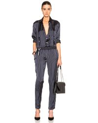 Anthony Vaccarello | Blue Long Sleeve Jumpsuit | Lyst