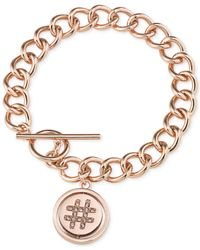 Carolee | Metallic Rose Gold-Tone Hashtag Toggle Charm Bracelet | Lyst