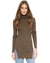 Helmut Lang - Brown Fitted Turtleneck Top - Black - Lyst