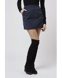 Topshop Moto Cord A-line Skirt in Blue | Lyst