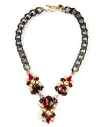 Anton Heunis | Multicolor Oval Crystal Cluster And Chain Necklace | Lyst