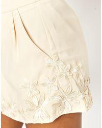 Little Mistress - Natural Floral Applique Shorts - Lyst