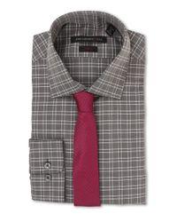 John Varvatos - Gray Slim Fit Check Dress Shirt for Men - Lyst