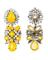Shourouk | Yellow Blondie Crystal and Enamel Beaded Earrings | Lyst