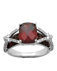 Lord & Taylor | Metallic Sterling Silver Ring With Garnet And White Topaz | Lyst