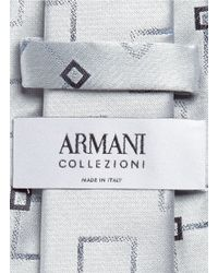 Armani - Metallic Double Square Jacquard Silk Blend Tie for Men - Lyst