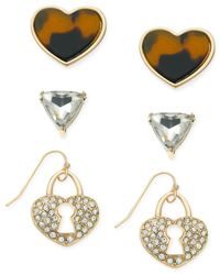 Guess | Metallic Gold-tone Trio Earring Set | Lyst