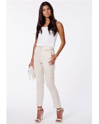 Missguided - Purple Ratka Stone High Waisted Cigarette Trousers - Lyst