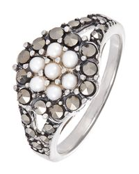 Lord & Taylor | Black Faux Pearl And Rhinestone Ring | Lyst