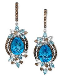 Le Vian - Blue Topaz (13-1/2 Ct. Smokey Quartz (1-1/3 Ct. T.W.) And White Topaz (1/4 Ct. T.W.) Earrings In 14K White Gold - Lyst