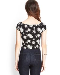 Forever 21 - Black Rose Print Crop Top - Lyst