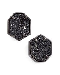 Kendra Scott | Metallic 'taylor' Stud Earrings - Gunmetal/ Black Drusy | Lyst