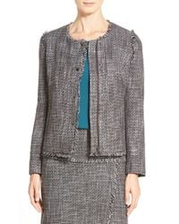 Halogen - Gray Zip-Front Tweed Jacket - Lyst