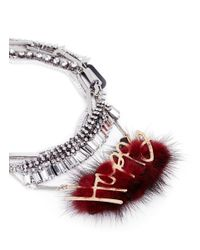 Venna | Red 'happy' Slogan Fur Pendant Crystal Fringe Necklace | Lyst