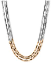 Lucky Brand | Metallic Two-tone Three Strand Beaded Necklace | Lyst
