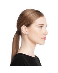 COACH | Metallic Sterling Pave Heart Stud Earrings | Lyst