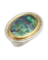 Gurhan | Metallic Abalone And Silver 'galapagos' Oval Ring | Lyst