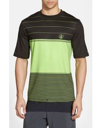 Volcom | Green 'Sub Stripe' Short Sleeve Rashguard for Men | Lyst
