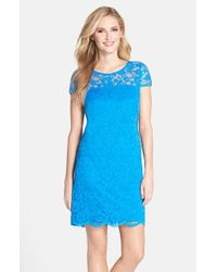 Donna Ricco - Blue Illusion Yoke Scalloped Lace Shift Dress - Lyst