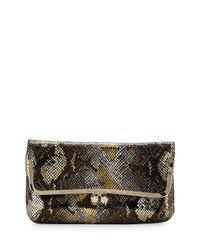 Elaine Turner   Brown Hazel Foil Pythonpattern Leather Clutch   Lyst