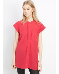 Vince - Red Silk Frayed Edge Placket Cap Sleeve Top - Lyst