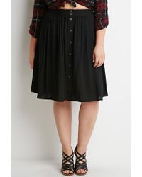 Forever 21 | Black Plus Size Buttoned A-line Skirt | Lyst