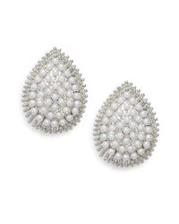 Ak Anne Klein | Metallic Faux Pearl Teardrop Clip Earrings | Lyst