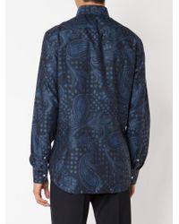 Etro - Blue Woven Paisley Shirt for Men - Lyst