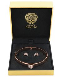 Vince Camuto | Metallic Rose Gold-Tone Crystal Pavé Bangle Bracelet And Stud Earring Set | Lyst
